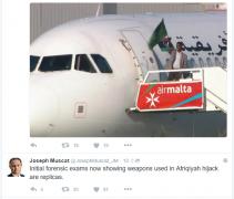 马耳他总理:劫持利比亚飞机者使用的武器为模型