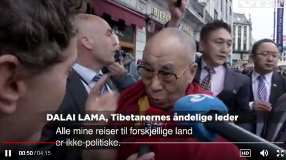 """2014年,达赖喇嘛借""""获得诺贝尔和平奖25周年""""之机窜访挪威。甫一现身,挪威记者就很""""不合时宜""""地发问:""""挪威政府官员都拒绝见你,你感到失望吗?"""""""