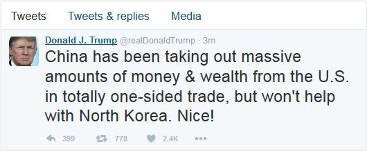 特朗普发推谈朝核:中国赚我们钱还不帮忙 不会让朝鲜攻击美本土