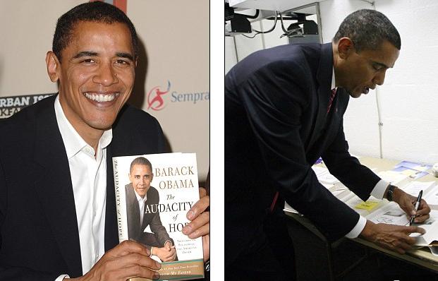 正在签名售书的奥巴马(资料照片)