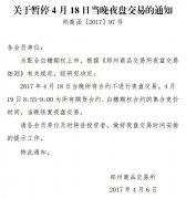 郑商所:为配合白糖期权上市 4月18日不进行夜盘交易