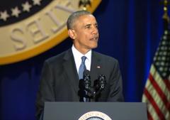 """奥巴马发表告别演讲 观众大喊""""再干四年"""""""
