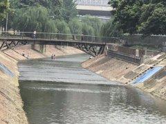 刚放暑假 又见孩子在郑州金水河里戏水捉鱼