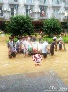 武汉高校男生暴雨中集体为女同学送饭